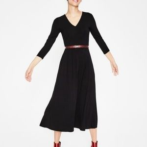 NWT Boden Black Midi V-Neck Coraline Jersey Dress